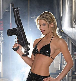 Skimpy Outfit, With Gun. Yummy.